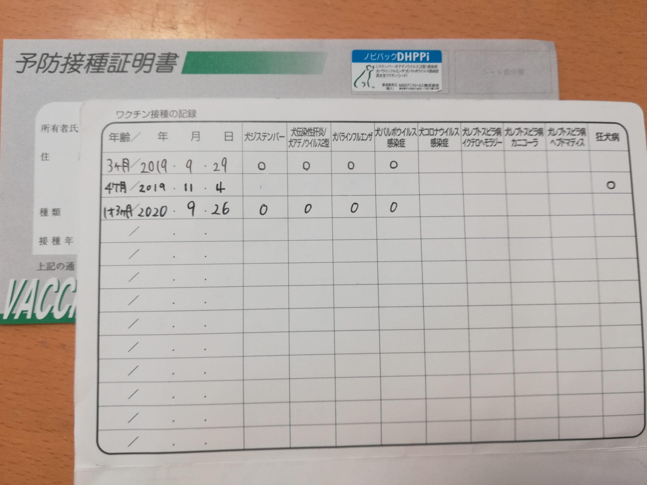 アポロの接種記録