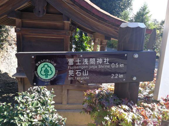 晃石山まで2.2キロの看板