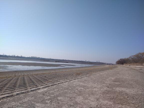 干し上げ中の谷中湖